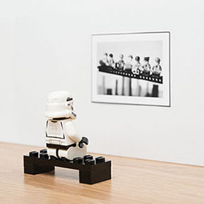 LEGO Stormtrooper looking at a LEGO Lunch Atop a Skyscraper photograph in a gallery